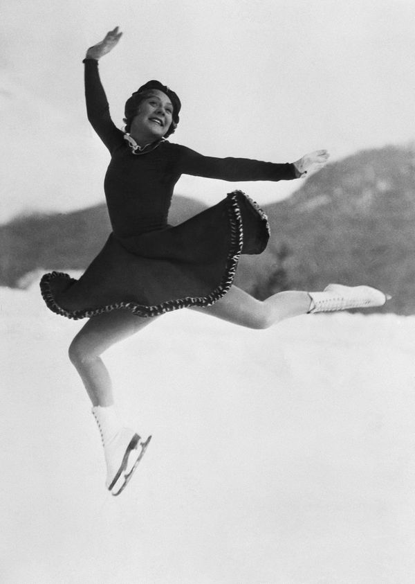 During her figure skating routine at the 1936 Winter Olympic Games in Garmisch-Partenkirchen, Germany.