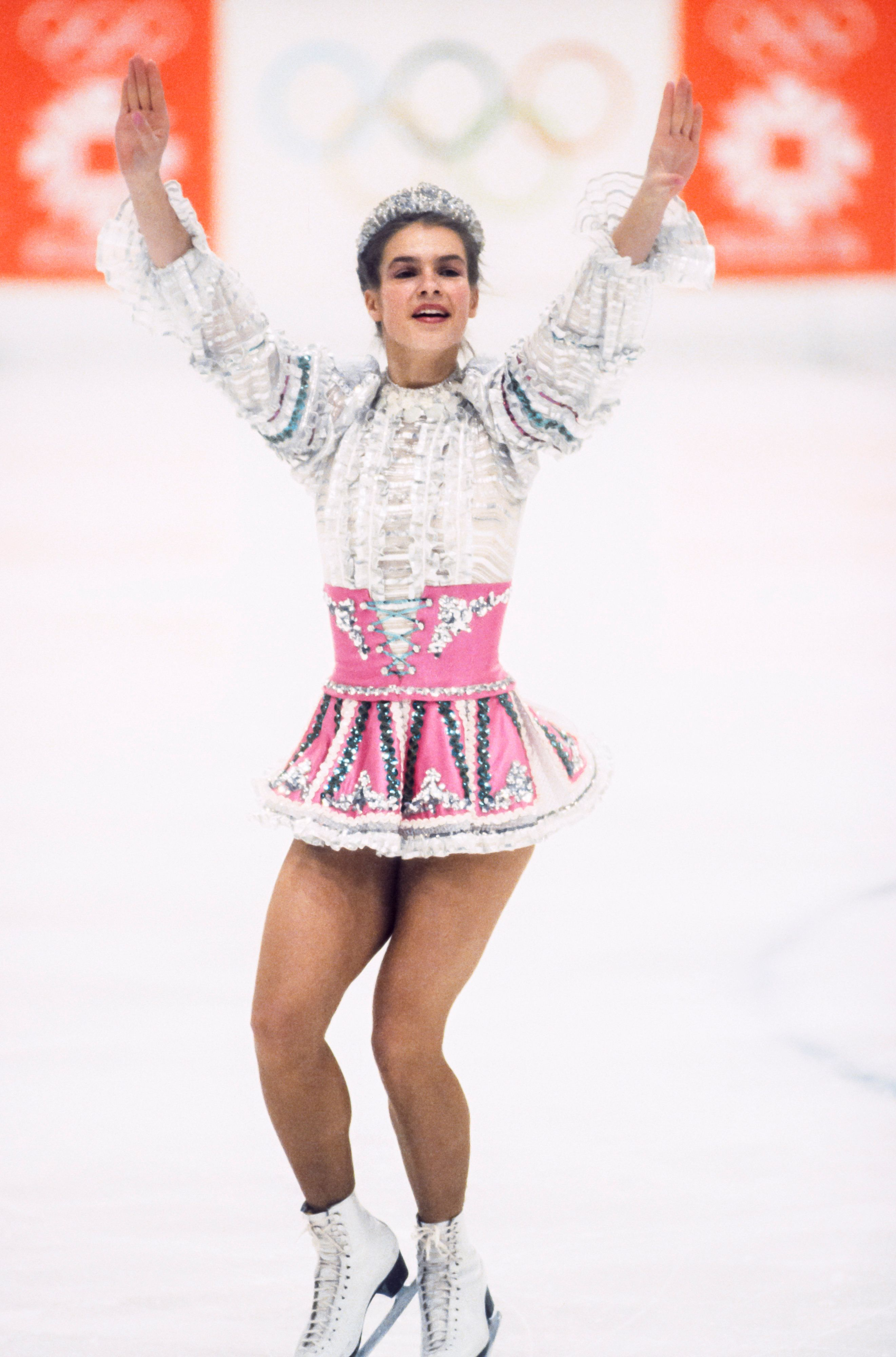 The skater fromEast Germany skating during the 1984 Winter Olympics held in Sarajevo, Yugoslavia, on Feb. 18, 1984.