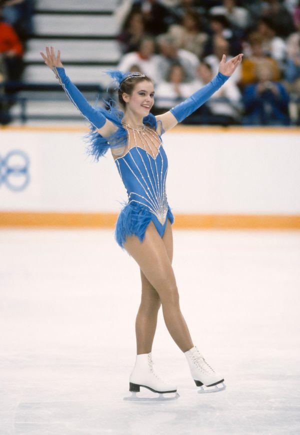 Performing intheladies singlesfigure skating event atthe 1988 Winter Olympics on Feb. 25, 1988, in Ca