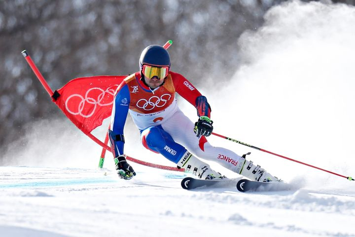 French Alpine skier Mathieu Faivre is seen during the Alpine Skiing Men's Giant Slalom on Sunday.