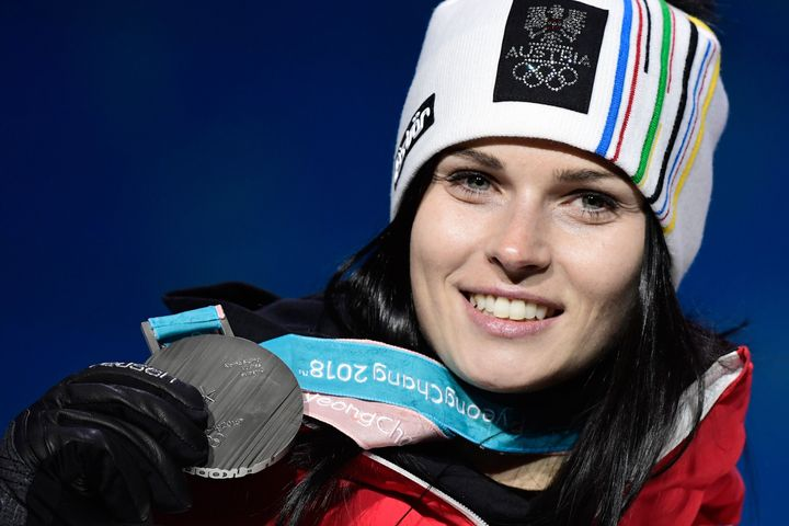 Austria's silver medalist Anna Veith on the podium after the women's Alpine skiing Super-G on Feb. 17. Her ability to compete