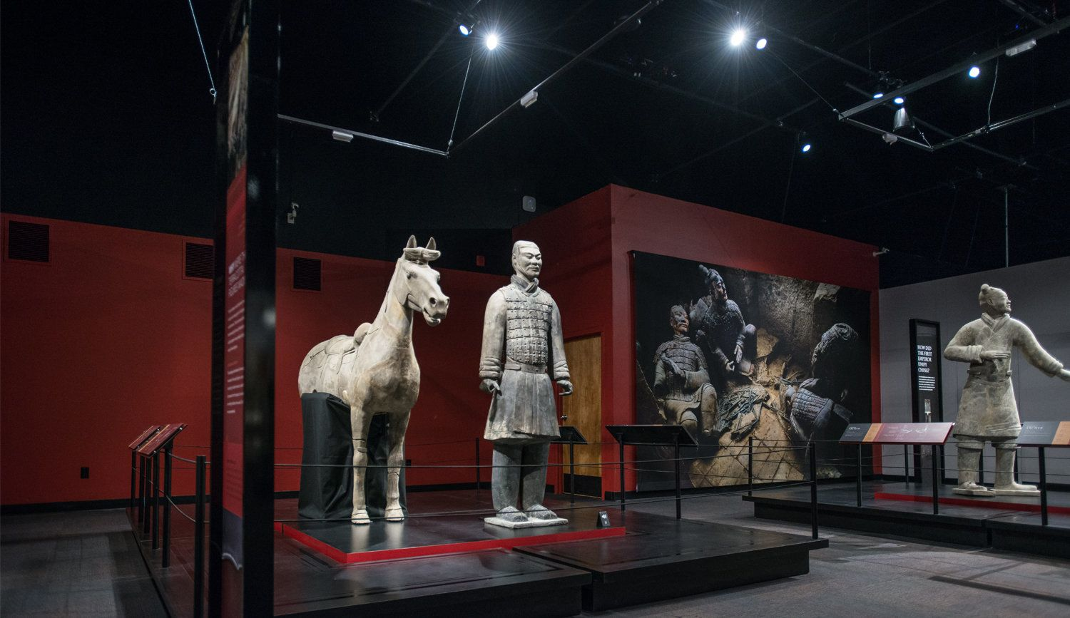 A terra-cotta horse and warrior from the Franklin Institute's