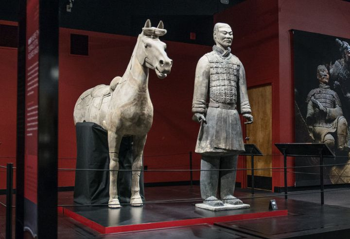 A terra-cotta horse and warrior from the Franklin Institute's exhibit.