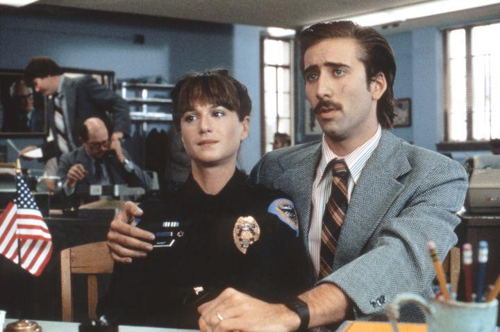 "Holly Hunter and Nicolas Cage in ""Raising Arizona."""