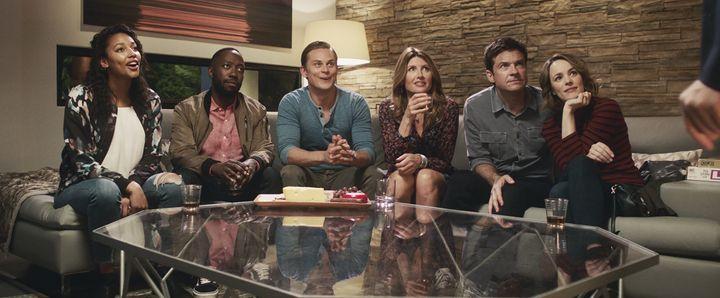 "Kylie Bunbury, Lamorne Morris, Billy Magnussen, Sharon Horgan, Jason Bateman and Rachel McAdams in ""Game Night."""