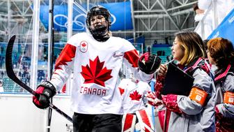 GANGNEUNG, SOUTH KOREA - FEBRUARY 19, 2018: Canadas Emily Clark (L) after a women's semifinal ice hockey match against Olympic Athletes from Russia as part of the 2018 Winter Olympic Games at the Gangneung Hockey Centre as they win with a 0-5 score. Sergei Bobylev/TASS (Photo by Sergei Bobylev\TASS via Getty Images)