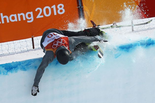 Joel Gisler of Switzerland hit the top of the wall during the halfpipe event at the Winter
