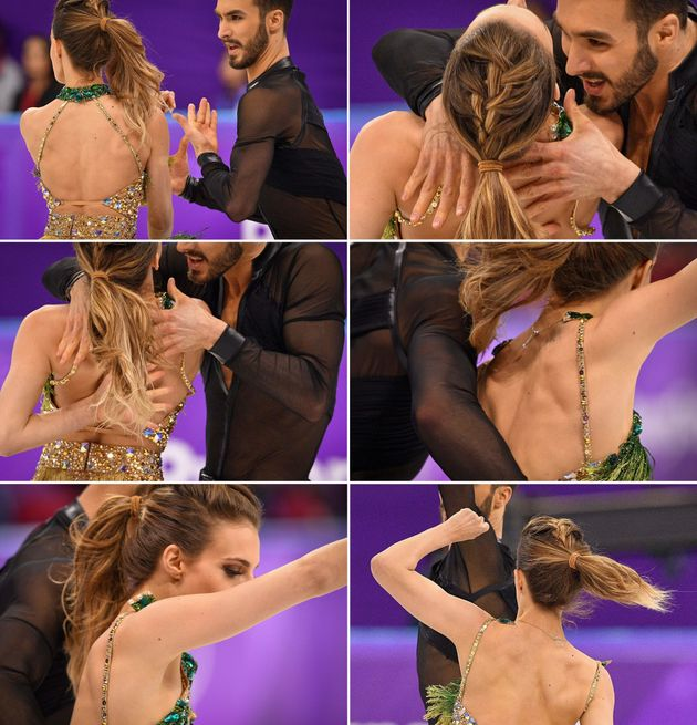 Photos showFrance's Guillaume Cizeron performing with Gabriella Papadakis as the back fastening...