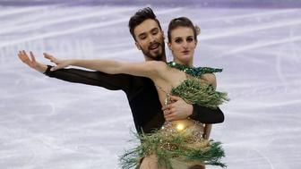 GANGNEUNG, SOUTH KOREA - FEBRUARY 19: Gabriella Papadakis and Guillaume Cizeron of France during the Figure Skating Ice Dance Short Dance program on day ten of the PyeongChang 2018 Winter Olympic Games at Gangneung Ice Arena on February 19, 2018 in Gangneung, South Korea. (Photo by Jean Catuffe/Getty Images)