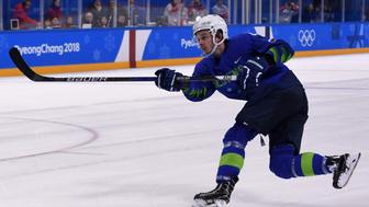 In this photo taken on February 17, 2018  Slovenia's Ziga Jeglic scores the game-winning goal against Slovakia during a penalty-shot shootout in the men's preliminary round ice hockey match between Slovakia and Slovenia during the Pyeongchang 2018 Winter Olympic Games at the Kwandong Hockey Centre in Gangneung.   Slovenian ice hockey player Ziga Jeglic failed a drugs test and has been suspended, the Court of Arbitration for Sport (CAS) said on February 20, 2018, becoming the third doping case at the Pyeongchang Olympics. / AFP PHOTO / JUNG Yeon-Je        (Photo credit should read JUNG YEON-JE/AFP/Getty Images)