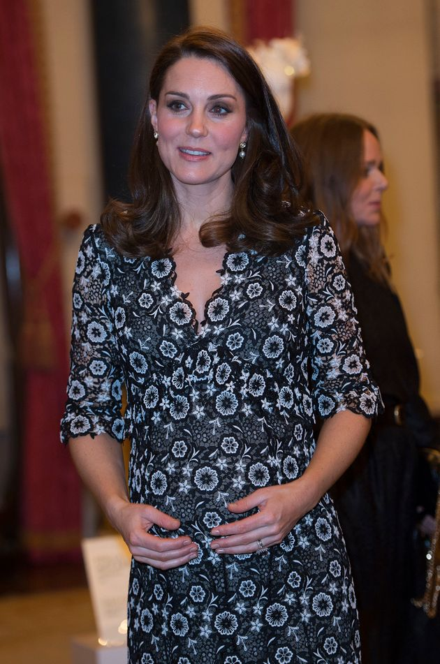 The Duchess of Cambridge arrives at Kensington palace to host the reception for the Commonwealth fashion