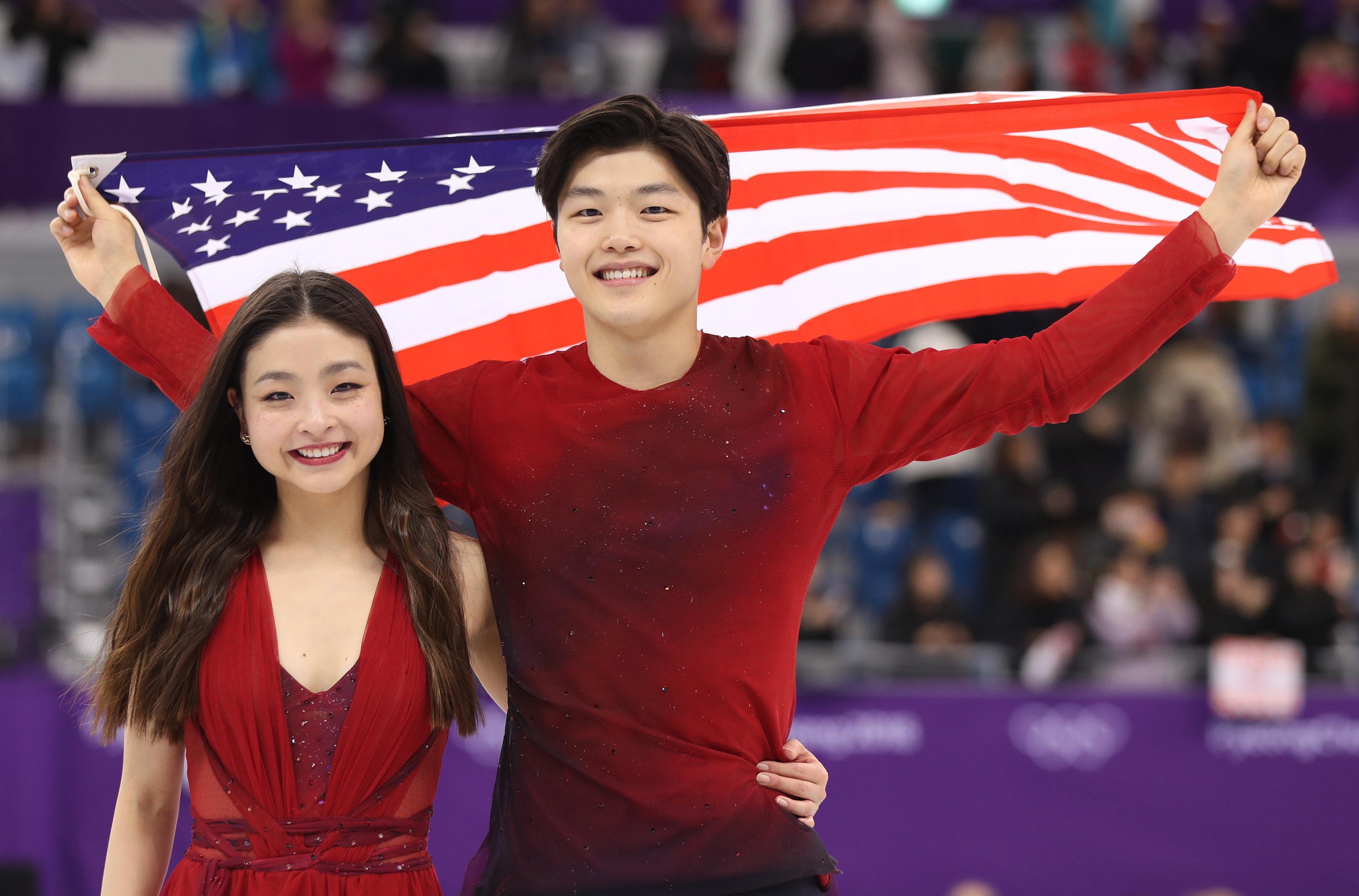 Figure Skating - Pyeongchang 2018 Winter Olympics - Ice Dance free dance competition final - Gangneung, South Korea - February 20, 2018 - Bronze medallists Maia Shibutani and Alex Shibutani of the U.S. celebrate. REUTERS/Lucy Nicholson