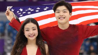 Figure Skating - Pyeongchang 2018 Winter Olympics - Ice Dance free dance competition final - Gangneung, South Korea - February 20, 2018 - Bronze medallists Maia Shibutani and Alex Shibutani of the U.S. celebrate. REUTERS/Lucy Nicholson