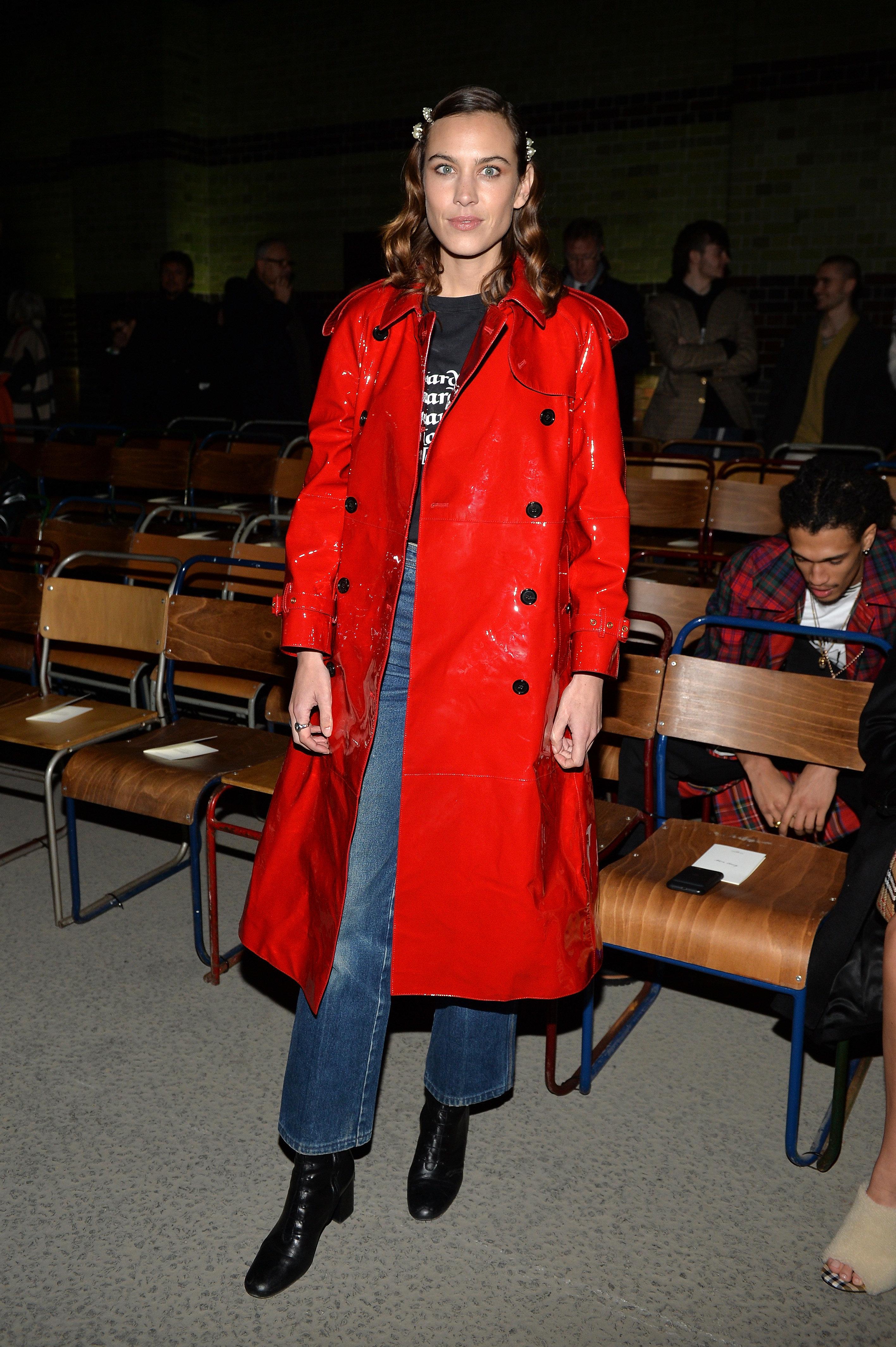Looks We Love: Alexa Chung's Colourful Raincoat at London Fashion
