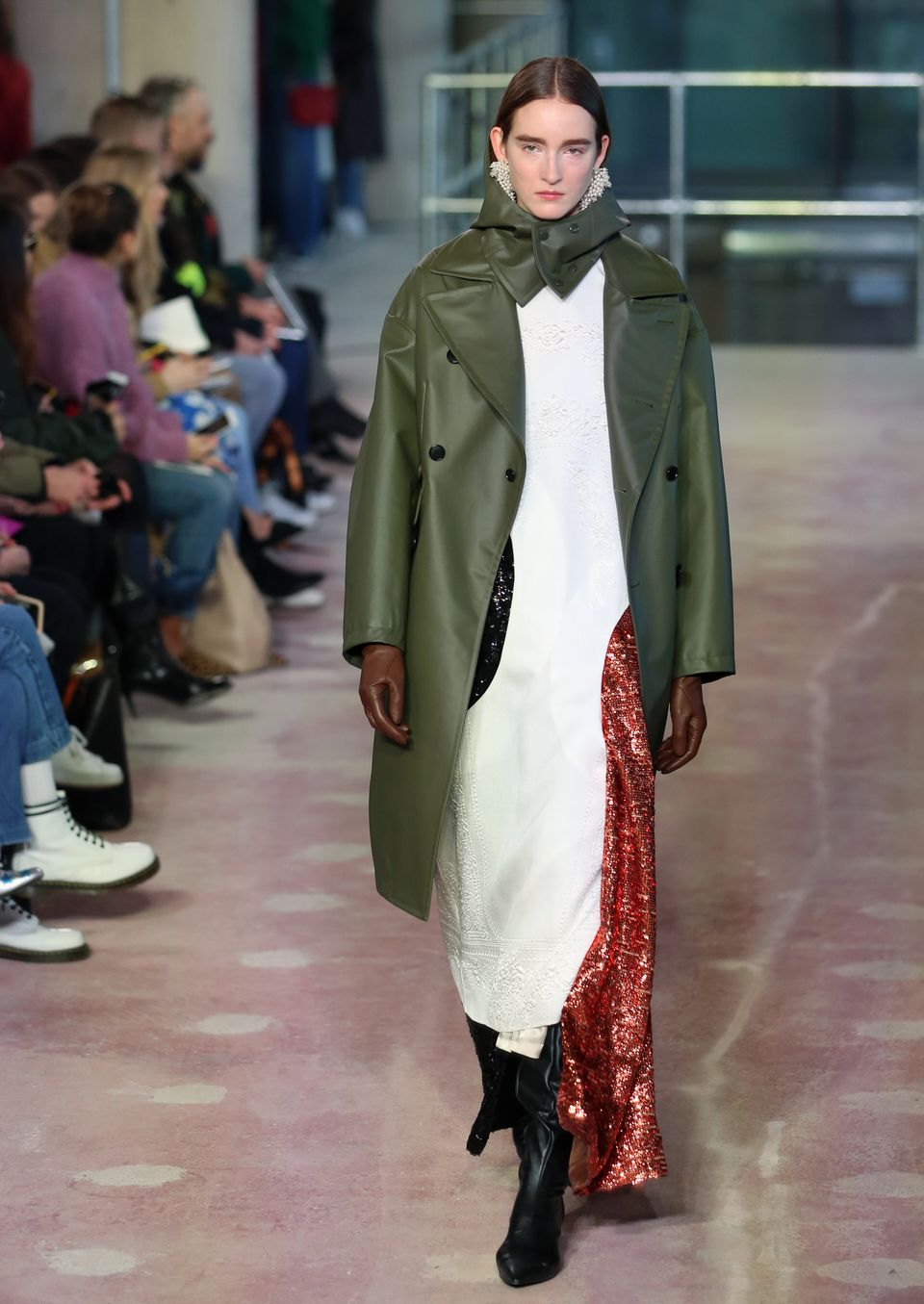 Fashion cult favourite TOGA also offered a block coat, this time in natural green