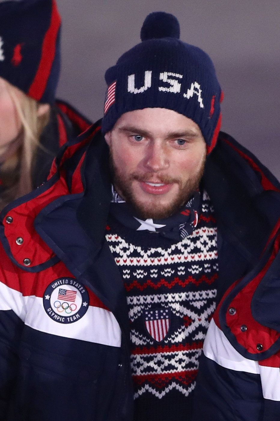 PYEONGCHANG-GUN, SOUTH KOREA - FEBRUARY 09:  Gus Kenworthy of the United States enters the stadium during the Opening Ceremony of the PyeongChang 2018 Winter Olympic Games at PyeongChang Olympic Stadium on February 9, 2018 in Pyeongchang-gun, South Korea.  (Photo by Ryan Pierse/Getty Images)