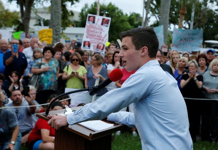 Cameron Kasky, a student at Marjory Stoneman Douglas High School, speaks to protesters at a Call To Action Against Gun Violen