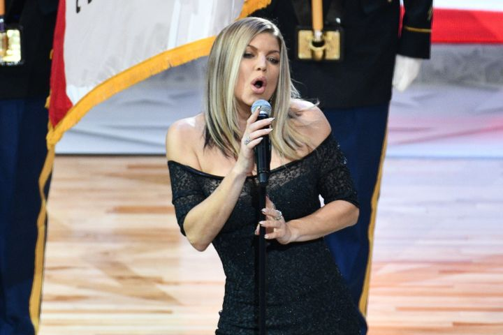 "People on social media were not impressed with Fergie's rendition of ""The Star-Spangled Banner"" Sunday night."