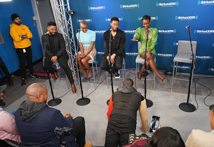 Ryan Coogler and actors Danai Gurira, Chadwick Boseman, Lupita Nyong'o and Michael B. Jordan at a SiriusXM event.