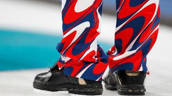 Curling - Pyeongchang 2018 Winter Olympics - Men's Round Robin - Britain v Norway - Gangneung Curling Center - Gangneung, South Korea - February 20, 2018 - A close up shows the pants and shoes of a Norway curler. REUTERS/Cathal McNaughton