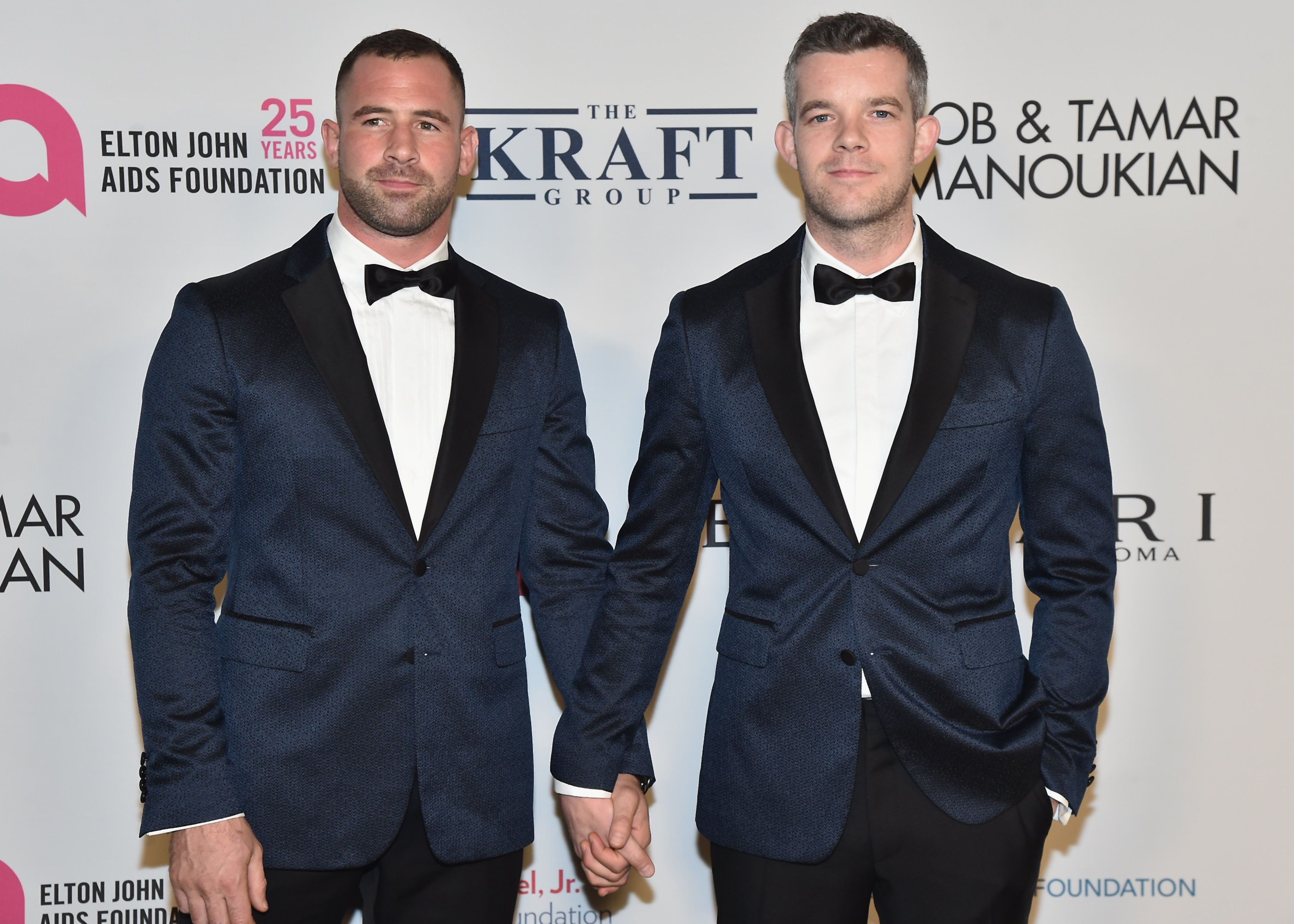 NEW YORK, NY - NOVEMBER 07: Russell Tovey (R) and guest attend the Elton John AIDS Foundation Commemorates Its 25th Year And Honors Founder Sir Elton John During New York Fall Gala at Cathedral of St. John the Divine on November 7, 2017 in New York City.  (Photo by Theo Wargo/Getty Images)