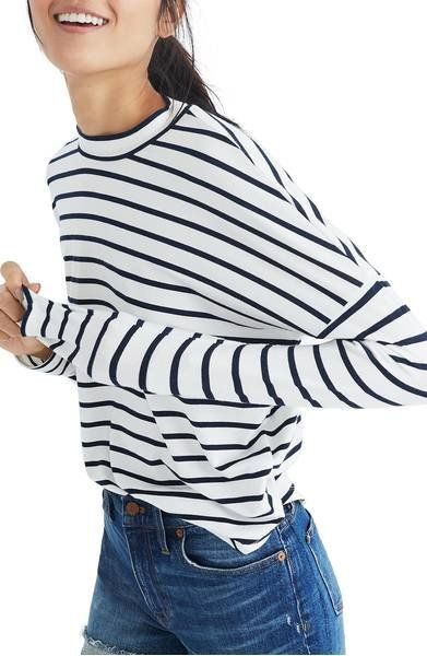 From black and white to perpendicular, stripes are making a statement this spring. Get this mock neck top from Madewell <a hr