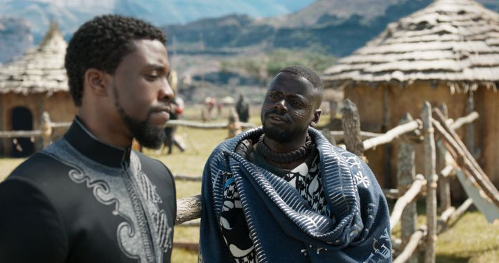 "T'Challa (Chadwick Boseman) and W'Kabi (Daniel Kaluuya) in ""Black Panther."""