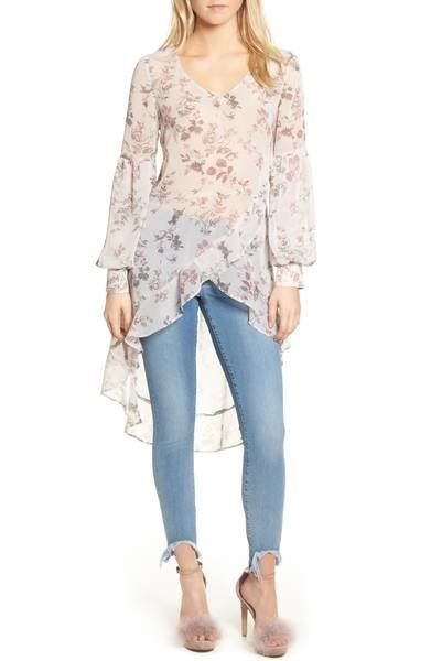"""Sheer will be big this season, from transparent topslike <a href=""""https://shop.nordstrom.com/s/leith-high-low-ruffle-to"""