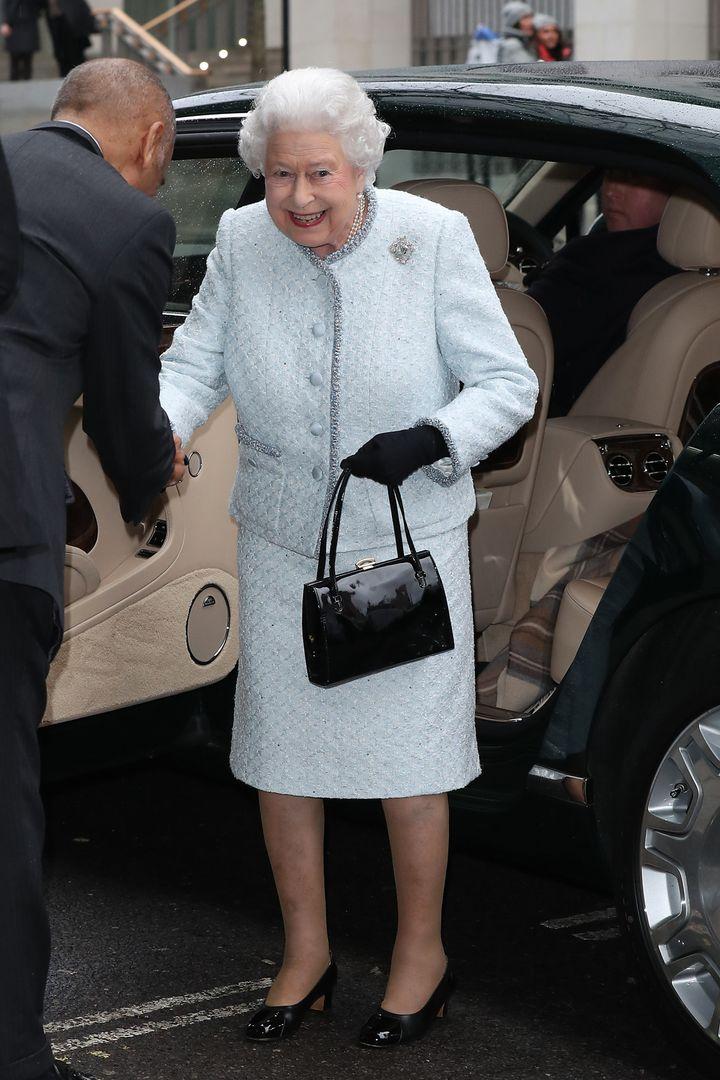 Queen Elizabeth II attends the Richard Quinn show on Feb. 20.