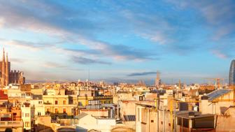 Panoramic view of Barcelona city with La Sagrada Familia cathedral