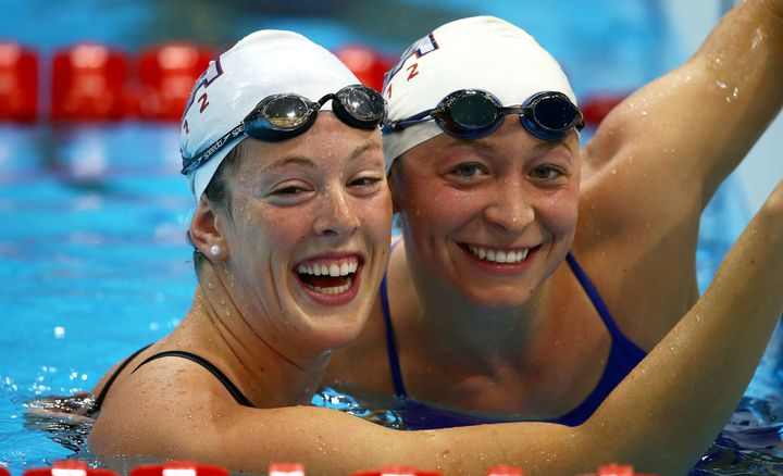 Kukors with her teammate, Allison Schmitt, during a training session ahead of the London Olympic Games on July 24, 2012.