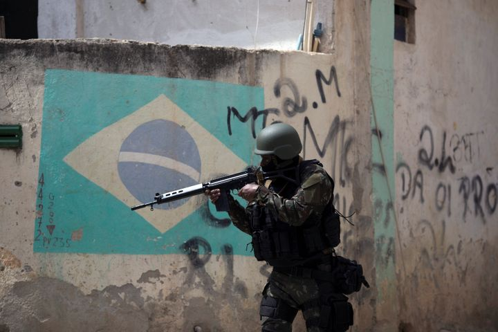 A Brazilian army soldier patrols the Barbante favela, in Rio de Janeiro, in November 2017.