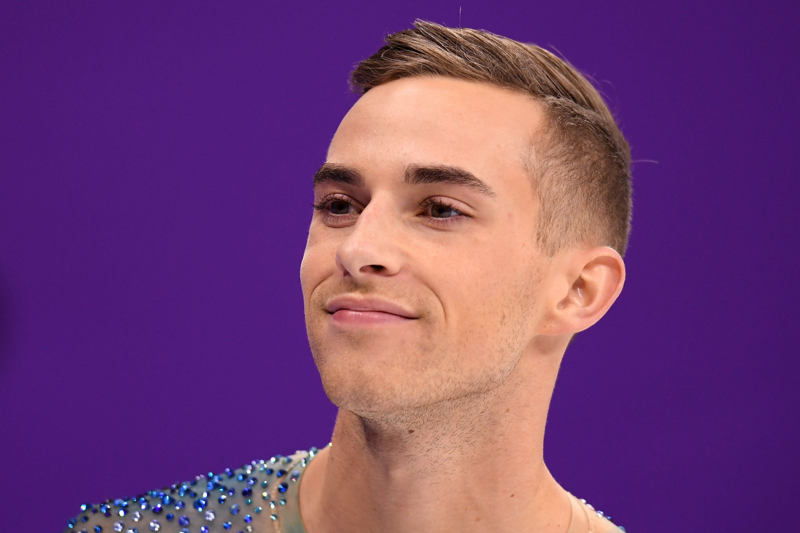 GANGNEUNG, SOUTH KOREA - FEBRUARY 17:  Adam Rippon of the United States warms up before competing during the Men's Single Free Program on day eight of the PyeongChang 2018 Winter Olympic Games  at Gangneung Ice Arena on February 17, 2018 in Gangneung, South Korea.  (Photo by Harry How/Getty Images)