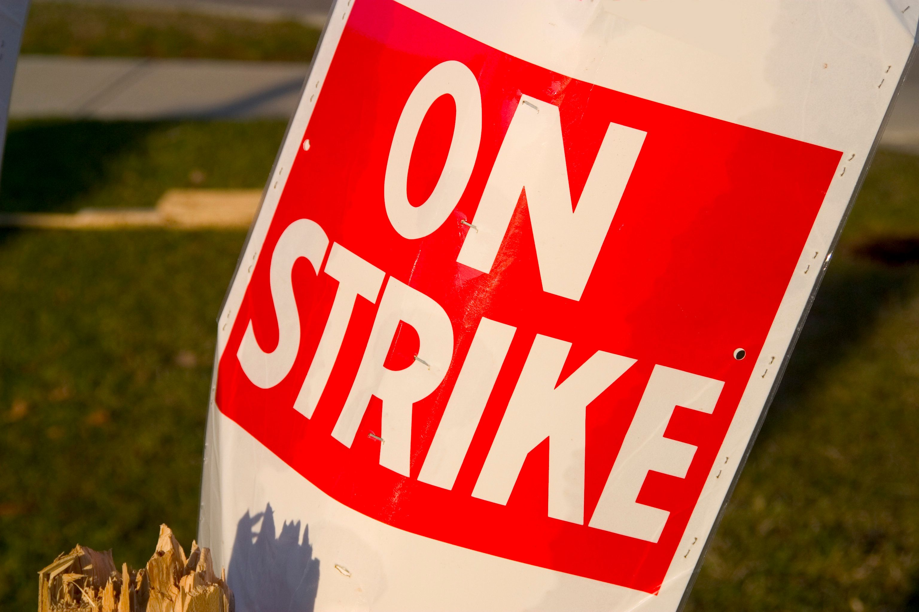 On Strike placard sits in garbage pail post strike. Narrow depth with soft background. Shot in sun setting light.