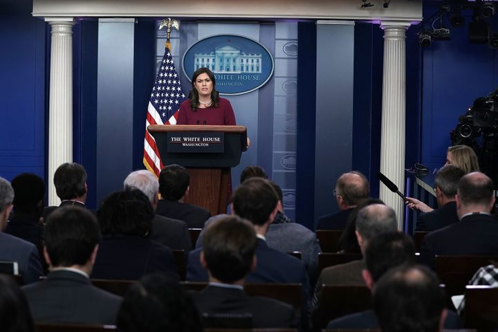 White House press secretary Sarah Huckabee Sanders at the daily news briefing last week.