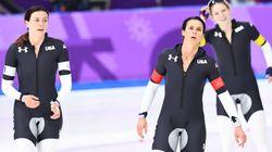 미국 빙상종목 팀 유니폼의 사타구니 부분만 회색인