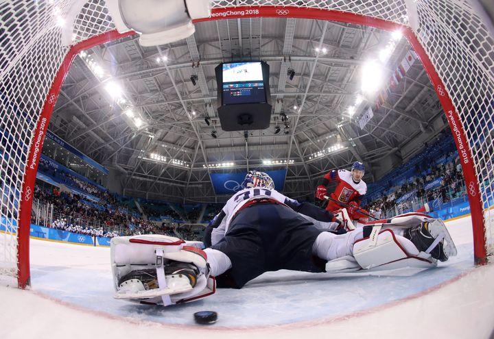 Petr Koukal of the Czech Republic scores the winning goal in a shootout past U.S. goalie Ryan Zapolski.