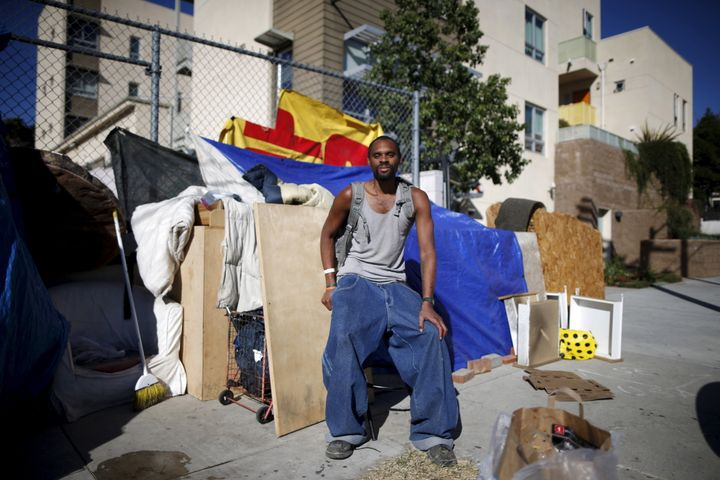 Dontray Williams by the tent he lives in on the streets of Los Angeles. He has been periodically homeless for five years