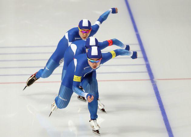 남자 팀추월 대표팀이 2회 연속 은메달을