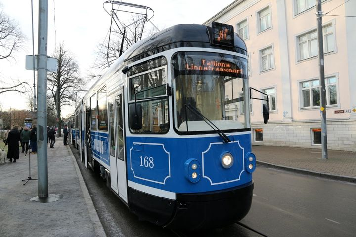 A tram in Tallinn, where public transport is free for city residents.