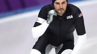 GANGNEUNG, SOUTH KOREA - FEBRUARY 19:  Mitchell Whitmore of the United States reacts after his race during the Men's 500m Speed Skating on day 10 of the PyeongChang 2018 Winter Olympic Games at Gangneung Oval on February 19, 2018 in Gangneung, South Korea.  (Photo by Ronald Martinez/Getty Images)