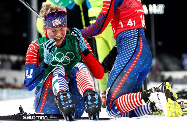 Jessica Diggins of the U.S reacts after winning.
