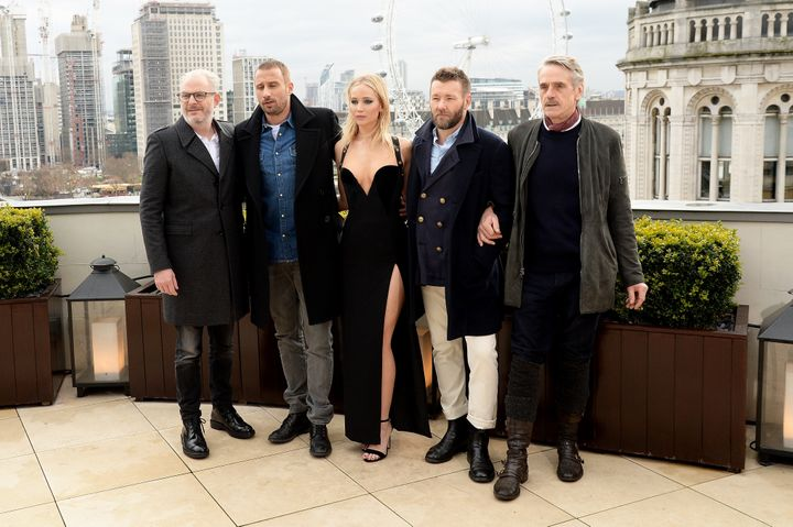 (L-R) Director Francis Lawrence poses with actors Matthias Schoenaerts, Jennifer Lawrence, Joel Edgerton and Jeremy Irons at