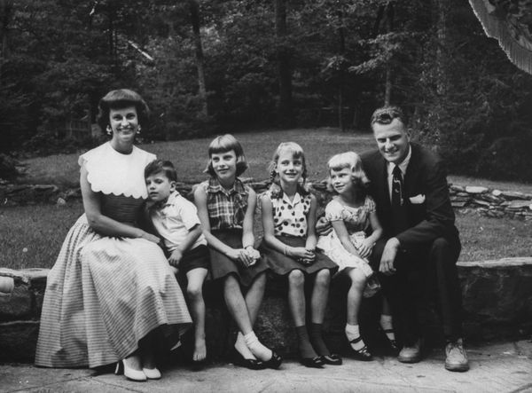 Graham with his four children and wife at his home in North Carolina.