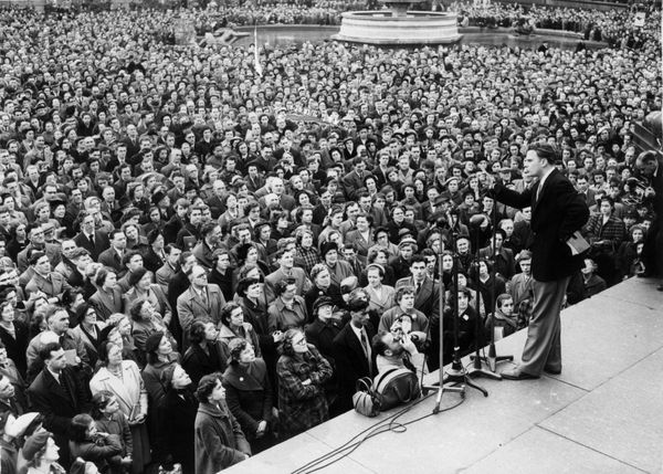 Graham addresses a crowd in Trafalgar Square in London.