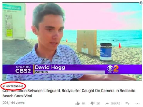 A video suggesting David Hogg is a paid actor reached No. 1 on YouTube's trending page on