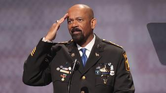 ATLANTA, GA - APRIL 28:  David Clarke Jr., sheriff of Milwaukee County, Wisconsin, speaks at the NRA-ILA's Leadership Forum at the 146th NRA Annual Meetings & Exhibits on April 28, 2017 in Atlanta, Georgia. The convention is the largest annual gathering for the NRA's more than 5 million members.  (Photo by Scott Olson/Getty Images)
