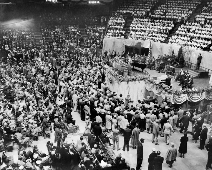 Billy Graham preaches at Madison Square Garden in New York on May 20, 1957.