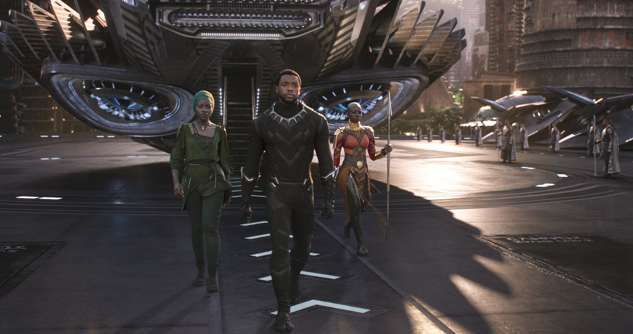 "Lupita Nyong'o, Chadwick Boseman and Danai Gurira in ""Black Panther."""
