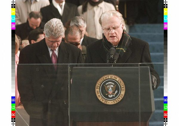 Graham gives the invocation at the beginning of the inauguration ceremony for Bill Clinton's second term as president.